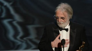 Haneke recevant l'Oscar du meilleur film étranger en 2013