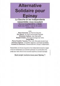 Réunion publique  3 juillet à 19h30 Salles des Fêtes 18 rue du Général Julien 93800 Épinay-sur-Seine